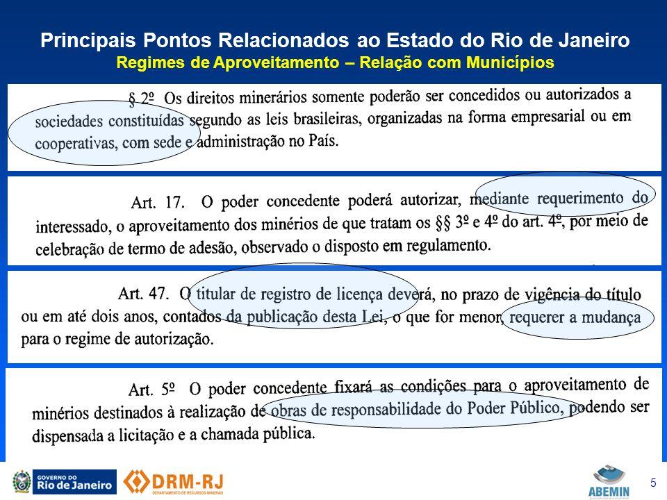 6 Principais Pontos Relacionados ao Estado do Rio de Janeiro Descentralização da Gestão dos Recursos Minerais