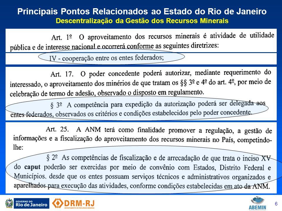 7 Principais Pontos Relacionados ao Estado do Rio de Janeiro CFEM – Quadro Nacional - arrecadação brasileira em 2012 R$ 1,832 bilhões