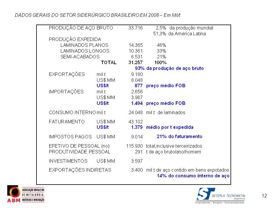 12 DADOS GERAIS DO SETOR SIDERÚRGICO BRASILEIRO EM 2008 – Em Mil/t