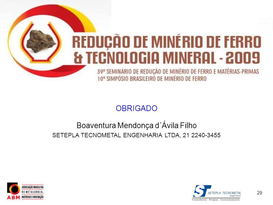 OBRIGADO Boaventura Mendonça d´Ávila Filho SETEPLA TECNOMETAL ENGENHARIA LTDA, 21 2240-3455 29