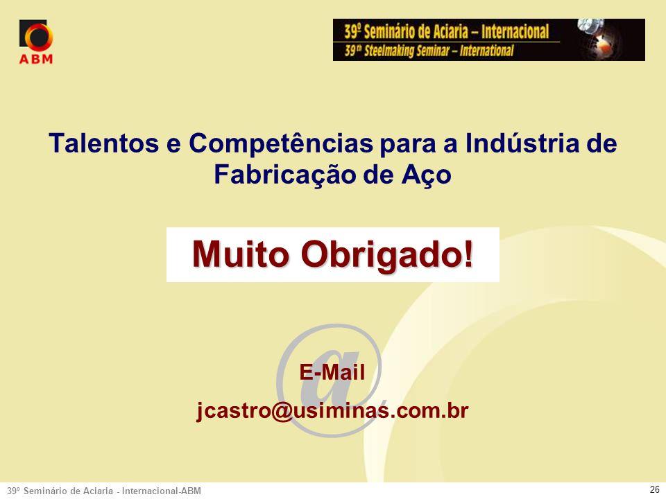 39º Seminário de Aciaria - Internacional-ABM 25 Perfil do Profissional - Competências Resultados Competências Humanas, Sociais e Gerenciais Competências Básicas Sucesso Profissional.Técnicas, Português.