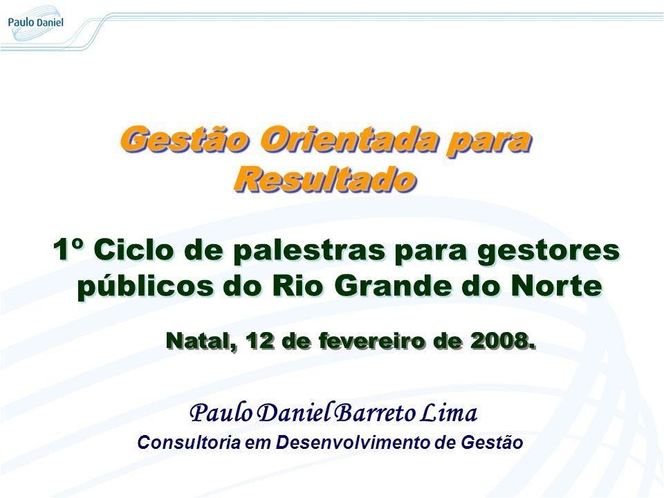 Gestão Orientada para Resultado Paulo Daniel Barreto Lima Consultoria em Desenvolvimento de Gestão 1º Ciclo de palestras para gestores públicos do Rio