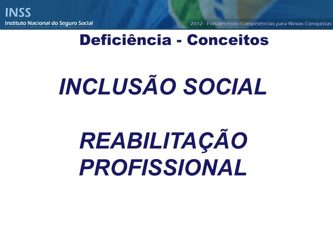 INCLUSÃO SOCIAL REABILITAÇÃO PROFISSIONAL