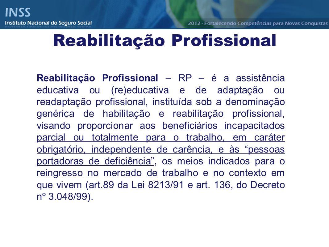 Reabilitação Profissional – RP – é a assistência educativa ou (re)educativa e de adaptação ou readaptação profissional, instituída sob a denominação g