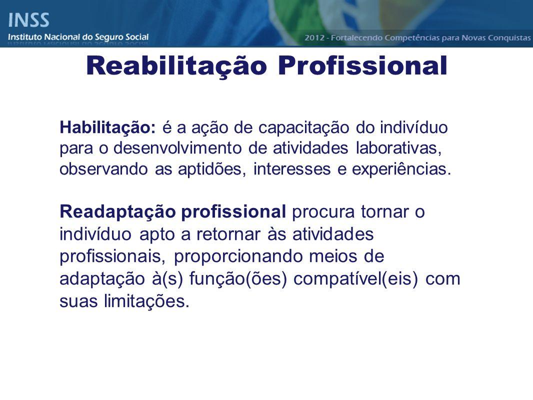 Habilitação: é a ação de capacitação do indivíduo para o desenvolvimento de atividades laborativas, observando as aptidões, interesses e experiências.