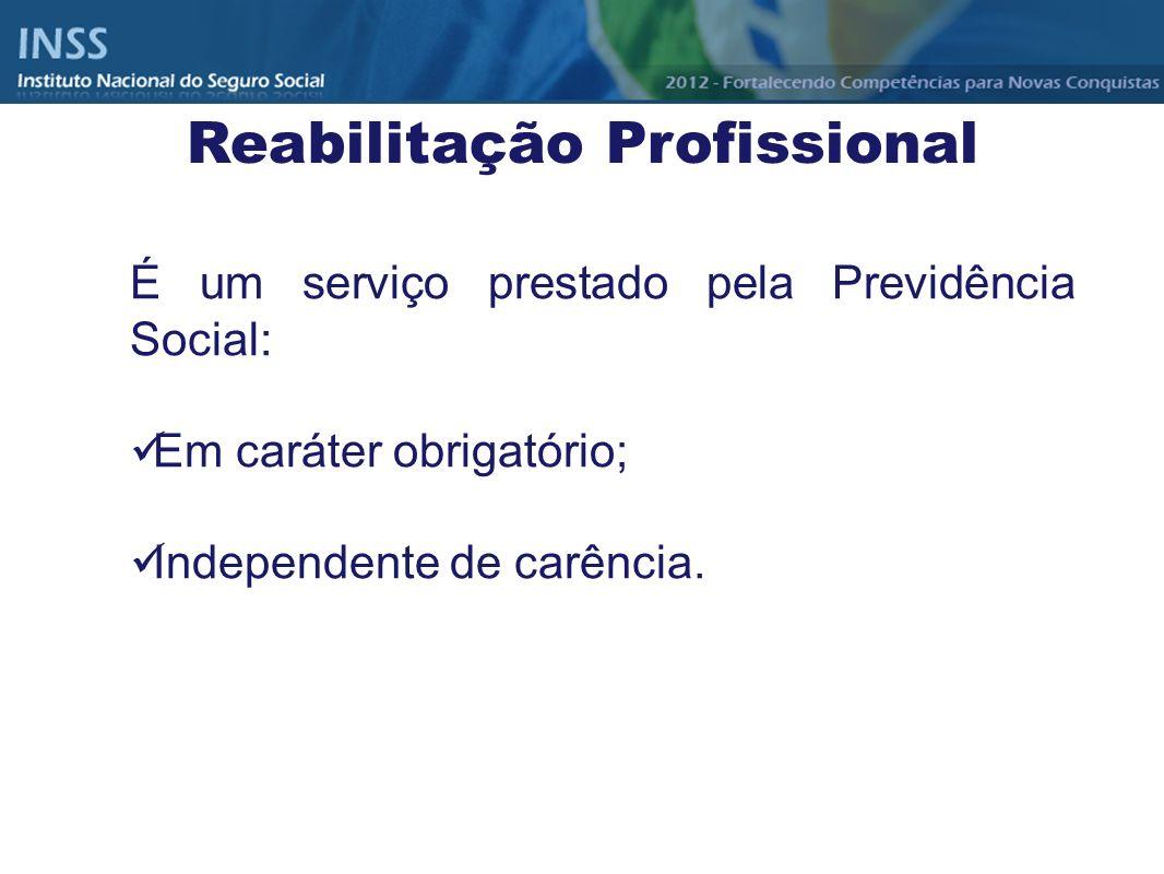 Reabilitação Profissional É um serviço prestado pela Previdência Social: Em caráter obrigatório; Independente de carência.