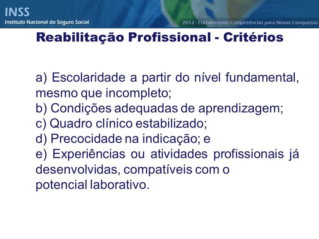 a) Escolaridade a partir do nível fundamental, mesmo que incompleto; b) Condições adequadas de aprendizagem; c) Quadro clínico estabilizado; d) Precoc