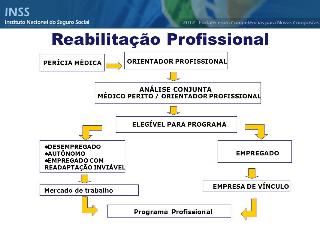 Reabilitação Profissional PERÍCIA MÉDICA ORIENTADOR PROFISSIONAL ANÁLISE CONJUNTA MÉDICO PERITO / ORIENTADOR PROFISSIONAL ELEGÍVEL PARA PROGRAMA DESEM
