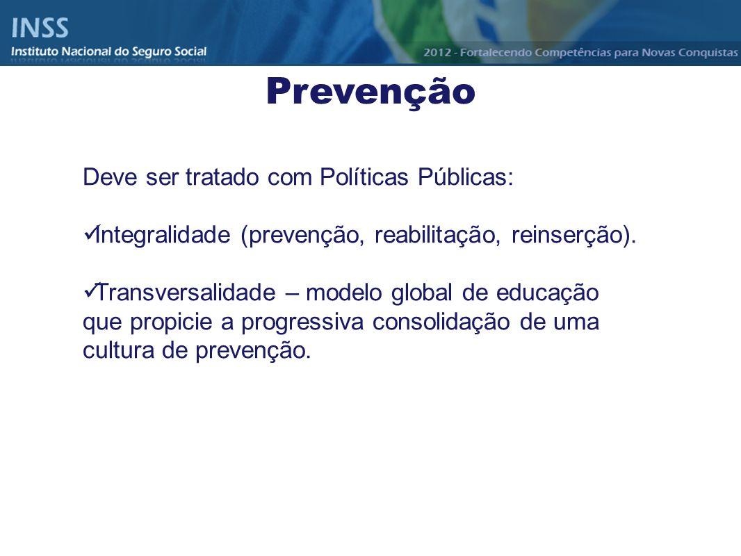Deve ser tratado com Políticas Públicas: Integralidade (prevenção, reabilitação, reinserção). Transversalidade – modelo global de educação que propici