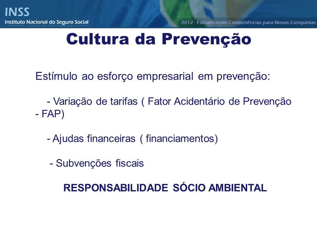 Estímulo ao esforço empresarial em prevenção: - Variação de tarifas ( Fator Acidentário de Prevenção - FAP) - Ajudas financeiras ( financiamentos) - S