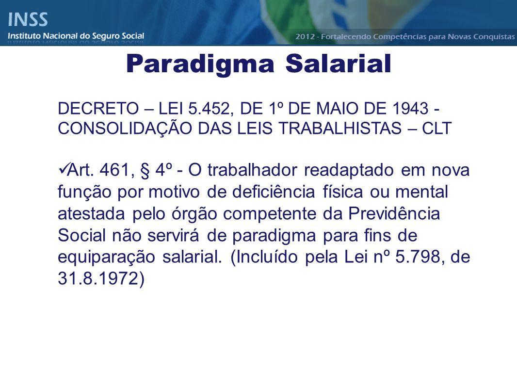 DECRETO – LEI 5.452, DE 1º DE MAIO DE 1943 - CONSOLIDAÇÃO DAS LEIS TRABALHISTAS – CLT Art. 461, § 4º - O trabalhador readaptado em nova função por mot