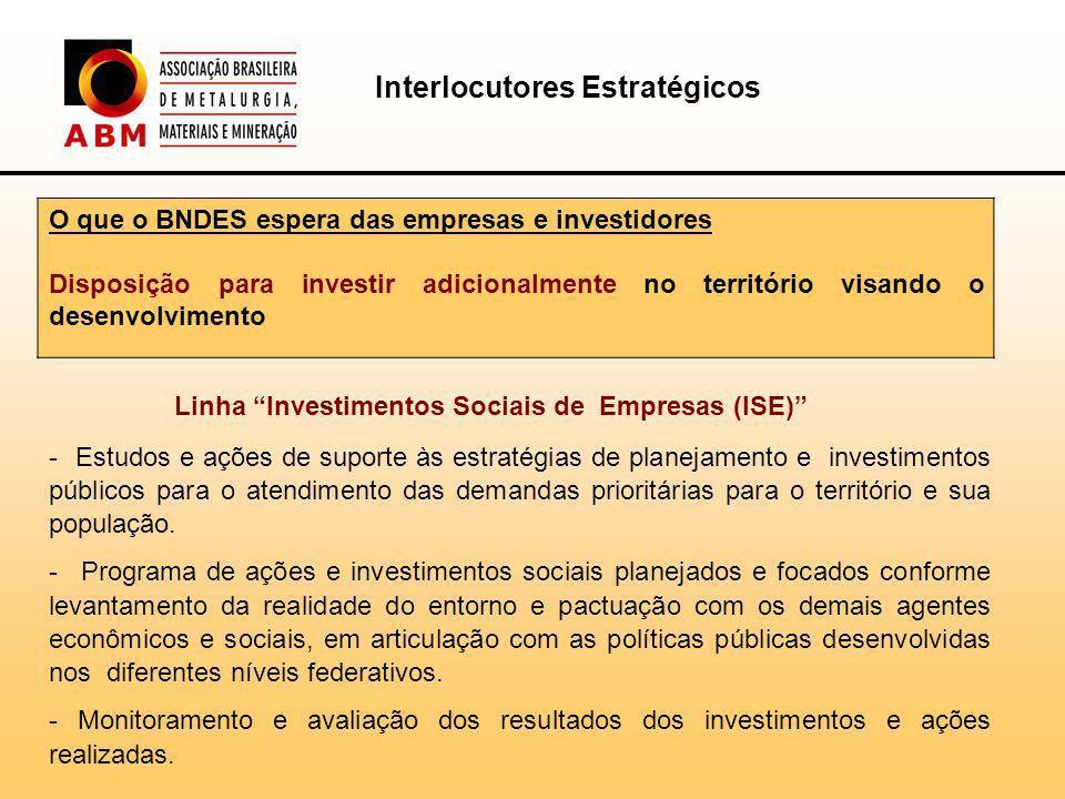 O que o BNDES espera das empresas e investidores Disposição para investir adicionalmente no território visando o desenvolvimento Linha Investimentos Sociais de Empresas (ISE) - Estudos e ações de suporte às estratégias de planejamento e investimentos públicos para o atendimento das demandas prioritárias para o território e sua população.
