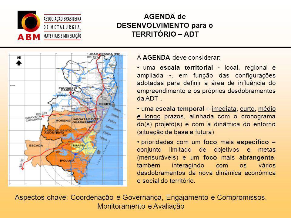 A AGENDA deve considerar: uma escala territorial - local, regional e ampliada -, em função das configurações adotadas para definir a área de influência do empreendimento e os próprios desdobramentos da ADT.