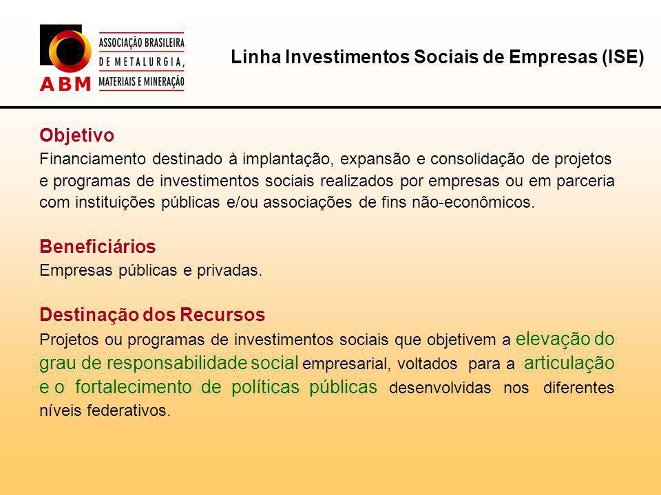 Objetivo Financiamento destinado à implantação, expansão e consolidação de projetos e programas de investimentos sociais realizados por empresas ou em parceria com instituições públicas e/ou associações de fins não-econômicos.