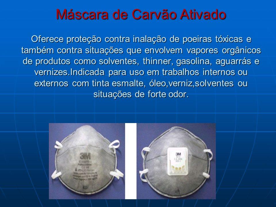 Máscara de Carvão Ativado Oferece proteção contra inalação de poeiras tóxicas e também contra situações que envolvem vapores orgânicos de produtos com