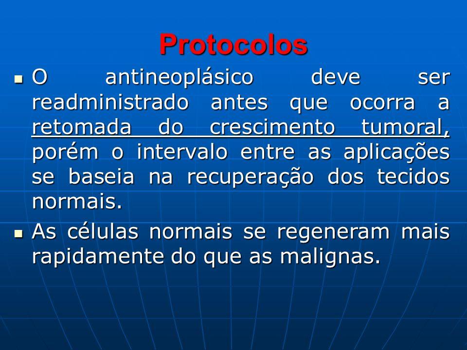 Protocolos O antineoplásico deve ser readministrado antes que ocorra a retomada do crescimento tumoral, porém o intervalo entre as aplicações se basei