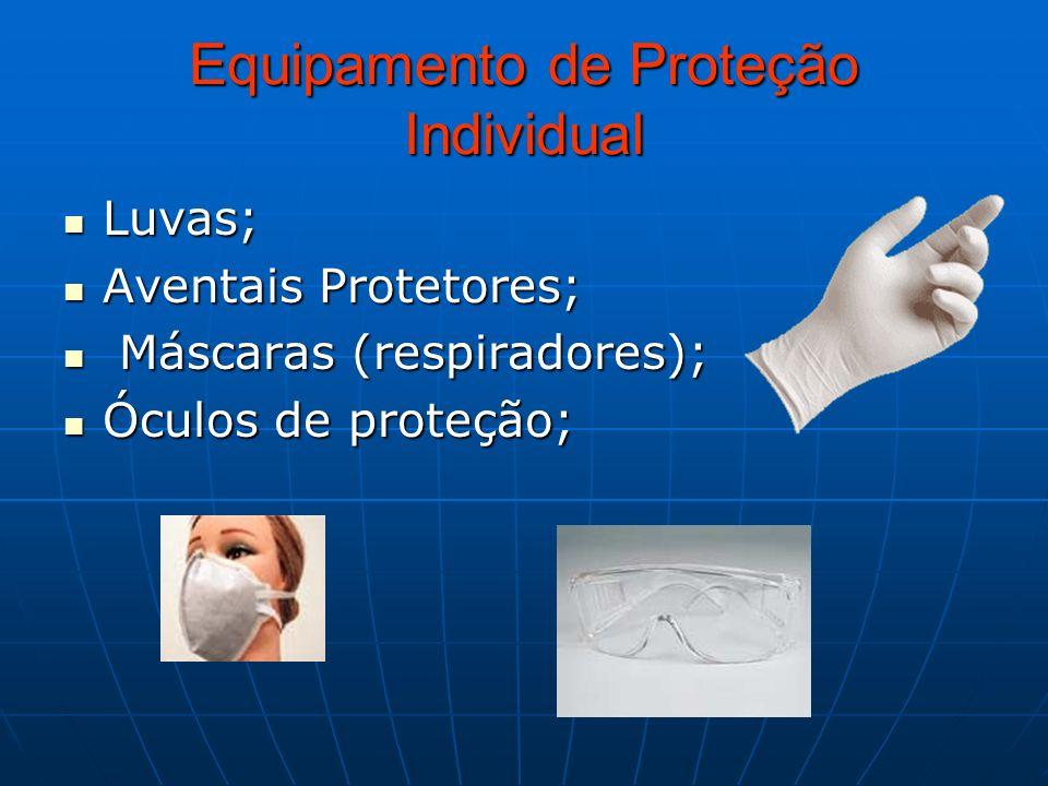 Equipamento de Proteção Individual Luvas; Luvas; Aventais Protetores; Aventais Protetores; Máscaras (respiradores); Máscaras (respiradores); Óculos de