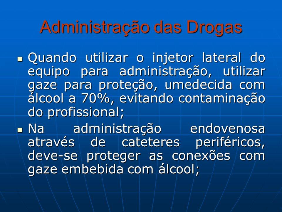 Administração das Drogas Quando utilizar o injetor lateral do equipo para administração, utilizar gaze para proteção, umedecida com álcool a 70%, evit