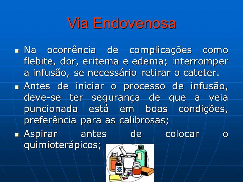 Via Endovenosa Na ocorrência de complicações como flebite, dor, eritema e edema; interromper a infusão, se necessário retirar o cateter. Na ocorrência