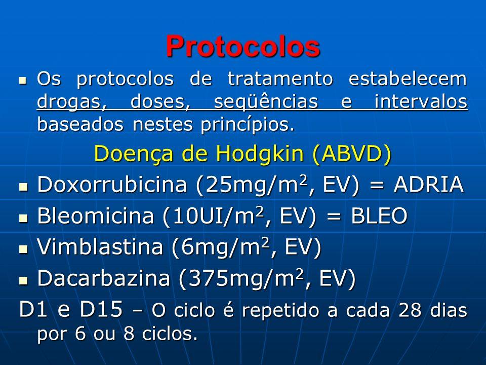Protocolos Os protocolos de tratamento estabelecem drogas, doses, seqüências e intervalos baseados nestes princípios. Os protocolos de tratamento esta