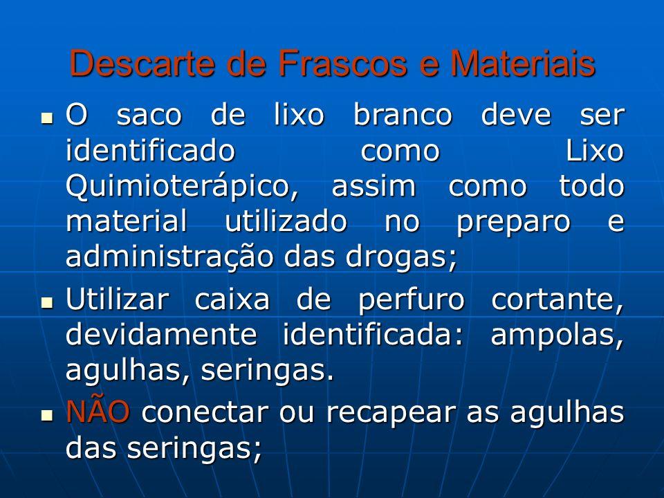 Descarte de Frascos e Materiais O saco de lixo branco deve ser identificado como Lixo Quimioterápico, assim como todo material utilizado no preparo e