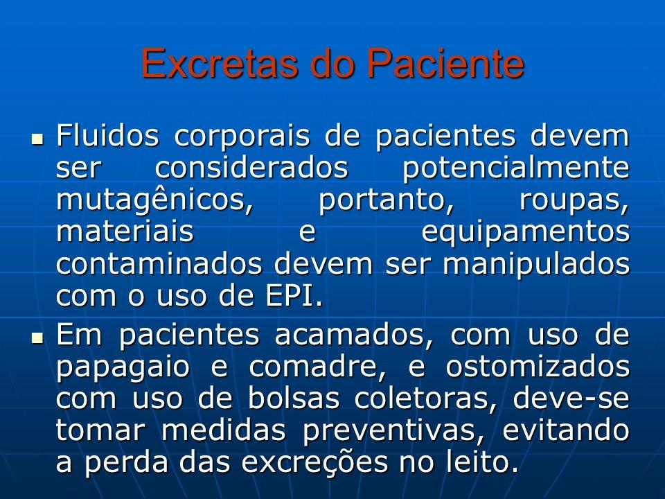 Excretas do Paciente Fluidos corporais de pacientes devem ser considerados potencialmente mutagênicos, portanto, roupas, materiais e equipamentos cont