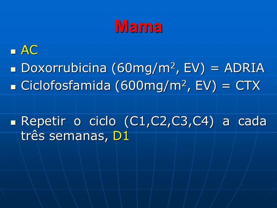 Mama AC AC Doxorrubicina (60mg/m 2, EV) = ADRIA Doxorrubicina (60mg/m 2, EV) = ADRIA Ciclofosfamida (600mg/m 2, EV) = CTX Ciclofosfamida (600mg/m 2, E