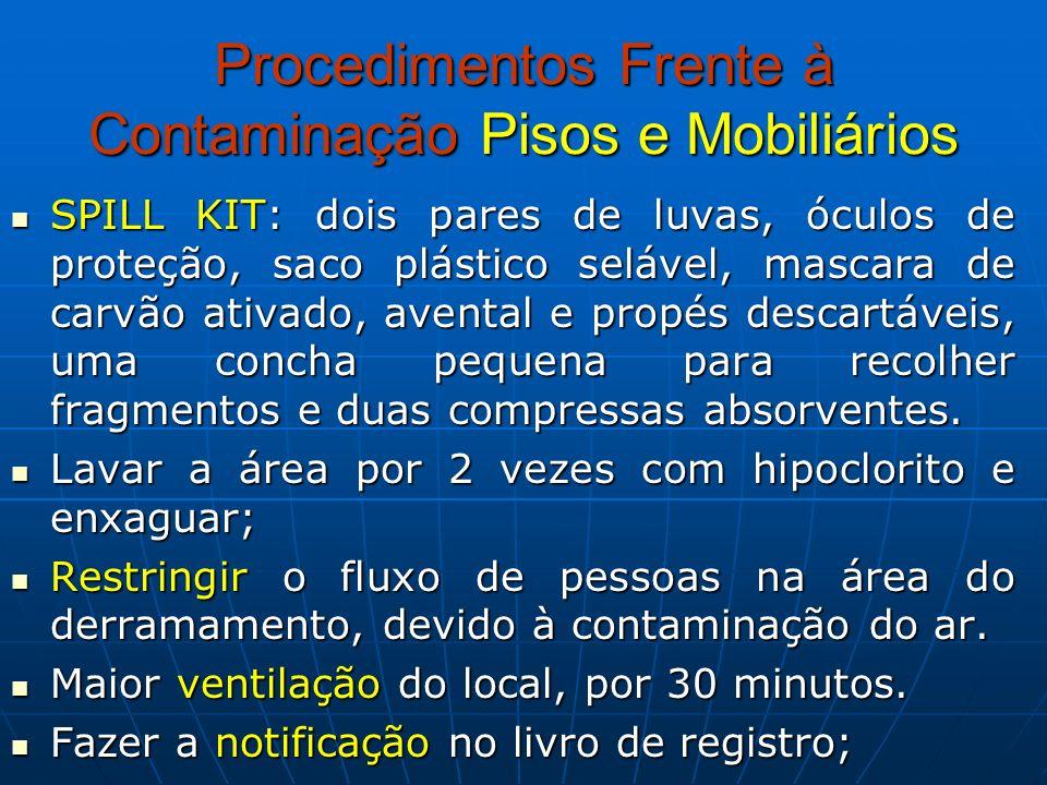 Procedimentos Frente à Contaminação Pisos e Mobiliários SPILL KIT: dois pares de luvas, óculos de proteção, saco plástico selável, mascara de carvão a
