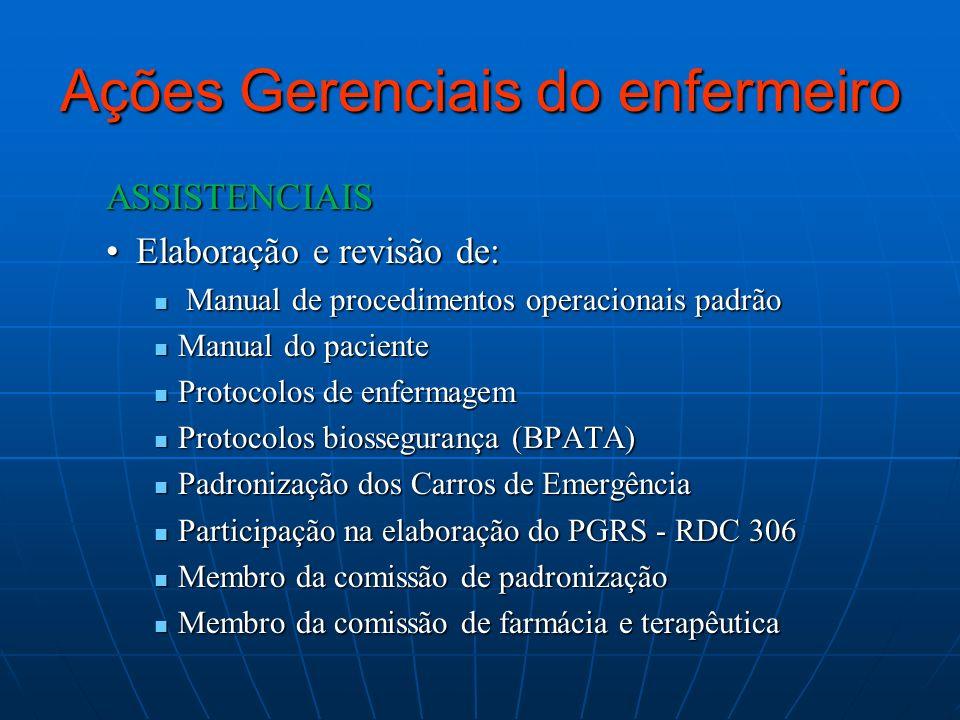 Ações Gerenciais do enfermeiro ASSISTENCIAIS Elaboração e revisão de:Elaboração e revisão de: Manual de procedimentos operacionais padrão Manual de pr