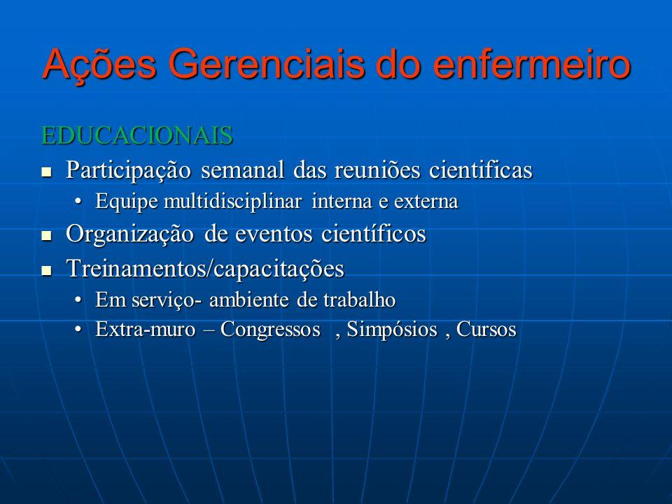 Ações Gerenciais do enfermeiro EDUCACIONAIS Participação semanal das reuniões cientificas Participação semanal das reuniões cientificas Equipe multidi