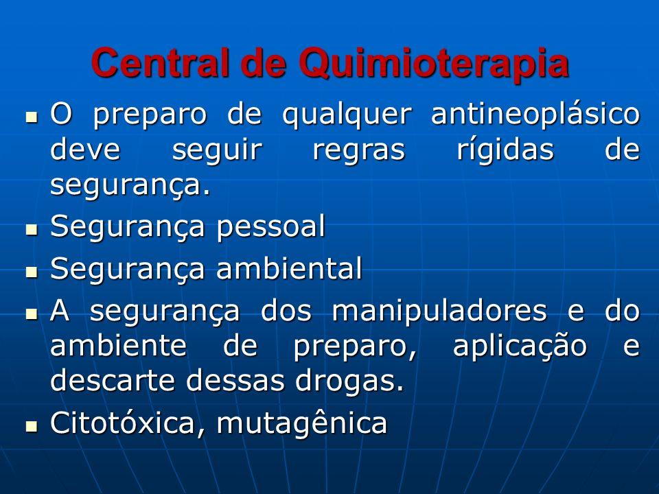 Central de Quimioterapia O preparo de qualquer antineoplásico deve seguir regras rígidas de segurança. O preparo de qualquer antineoplásico deve segui