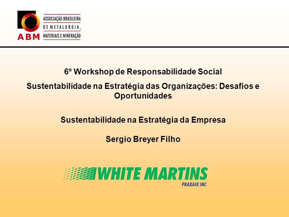 6º Workshop de Responsabilidade Social Sustentabilidade na Estratégia das Organizações: Desafios e Oportunidades Sustentabilidade na Estratégia da Emp