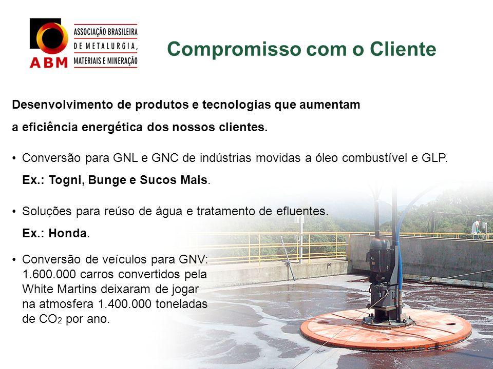 Compromisso com o Cliente Desenvolvimento de produtos e tecnologias que aumentam a eficiência energética dos nossos clientes. Conversão para GNL e GNC