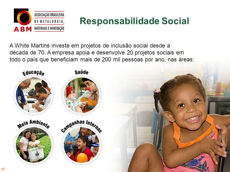 Responsabilidade Social 17 A White Martins investe em projetos de inclusão social desde a década de 70. A empresa apoia e desenvolve 20 projetos socia