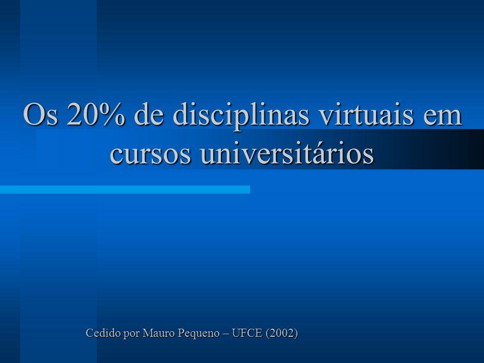 Os 20% de disciplinas virtuais em cursos universitários Cedido por Mauro Pequeno – UFCE (2002)