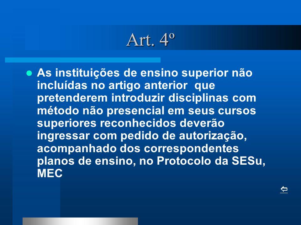 Art. 4º As instituições de ensino superior não incluídas no artigo anterior que pretenderem introduzir disciplinas com método não presencial em seus c