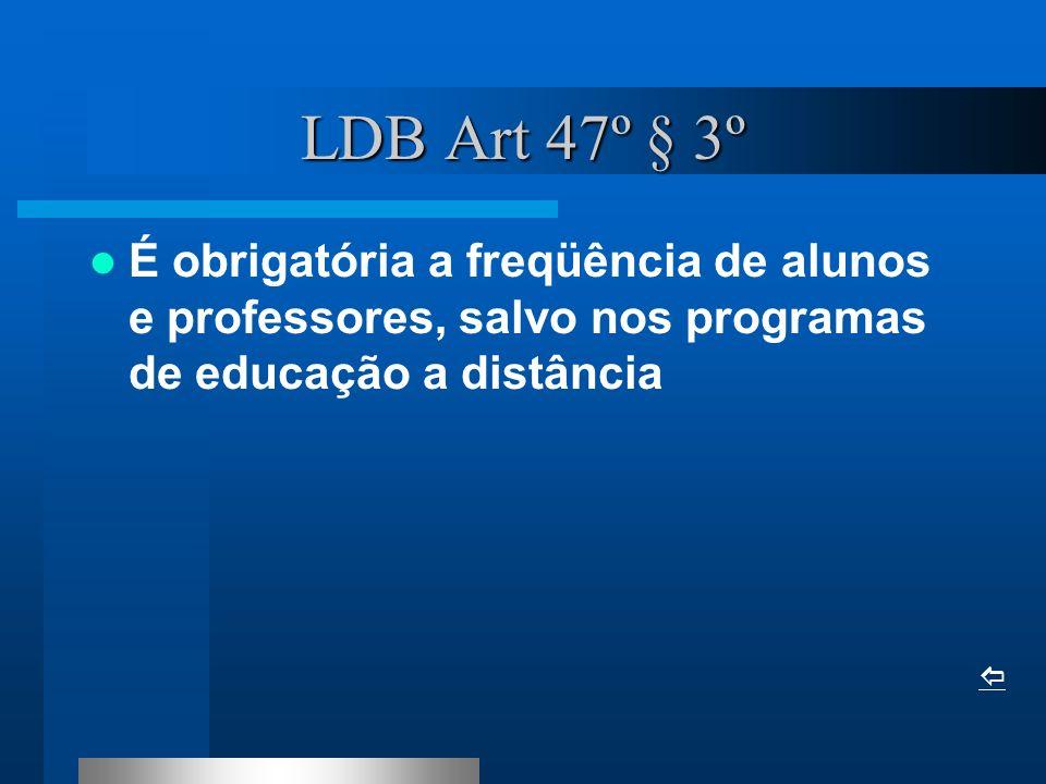 LDB Art 47º § 3º É obrigatória a freqüência de alunos e professores, salvo nos programas de educação a distância