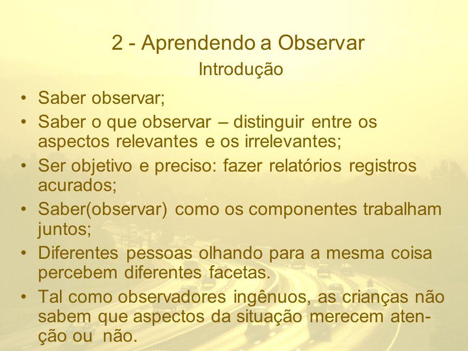 2 - Aprendendo a Observar Introdução Saber observar; Saber o que observar – distinguir entre os aspectos relevantes e os irrelevantes; Ser objetivo e