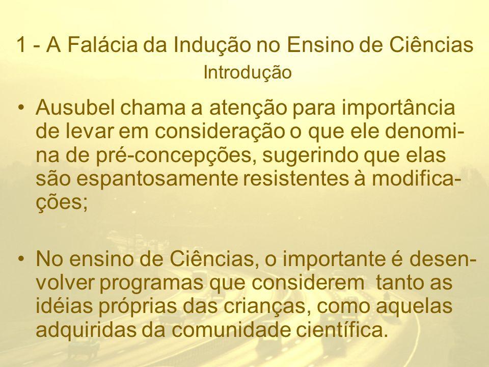 1 - A Falácia da Indução no Ensino de Ciências Introdução Há diferentes pontos de vista sobre a natureza da Ciência.