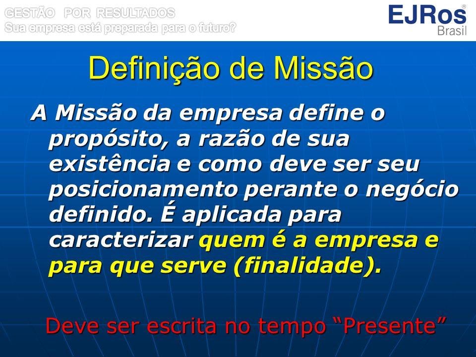 Definição de Missão A Missão da empresa define o propósito, a razão de sua existência e como deve ser seu posicionamento perante o negócio definido. É
