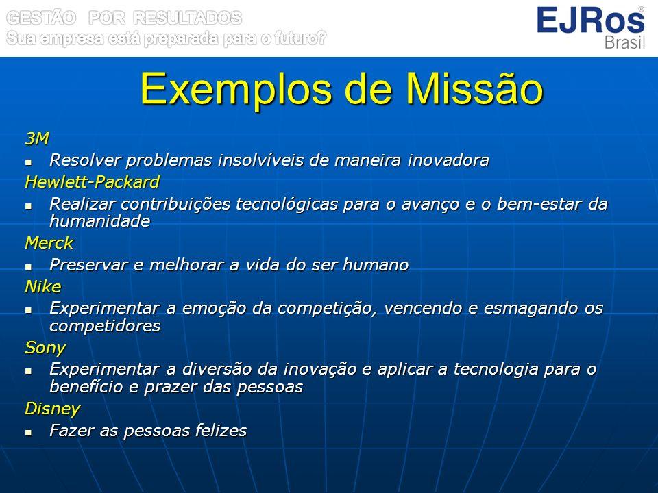 Exemplos de Missão 3M Resolver problemas insolvíveis de maneira inovadora Resolver problemas insolvíveis de maneira inovadoraHewlett-Packard Realizar