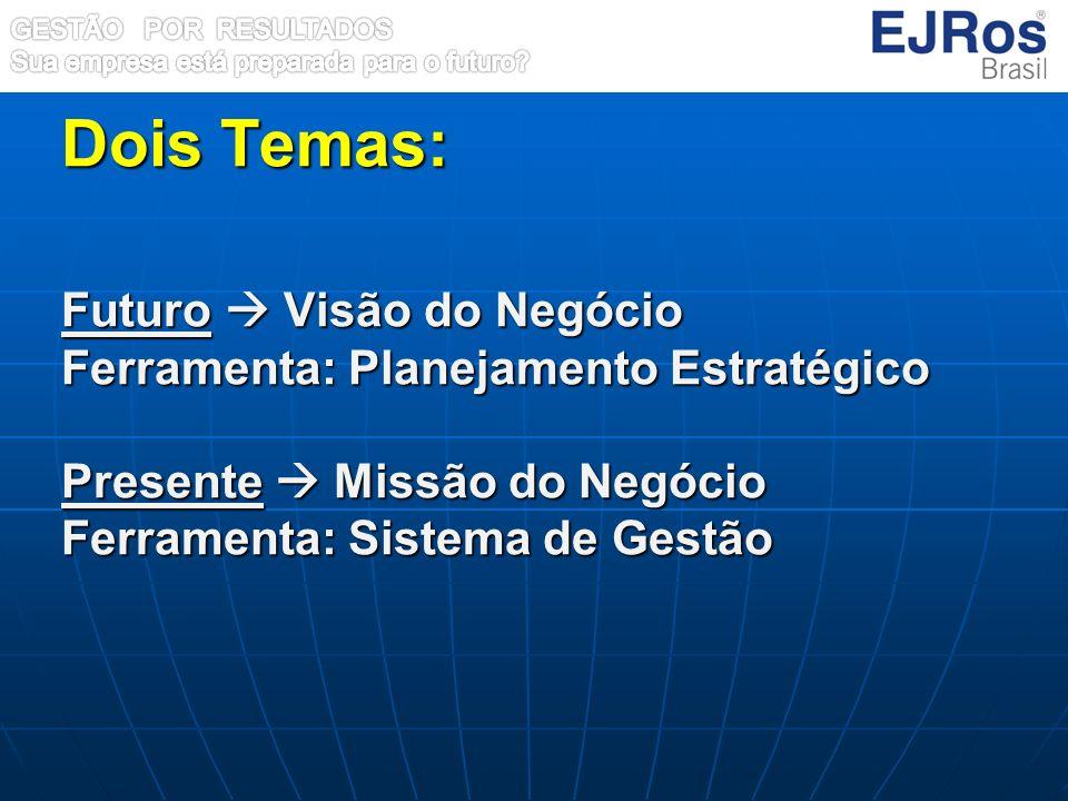Dois Temas: Futuro Visão do Negócio Ferramenta: Planejamento Estratégico Presente Missão do Negócio Ferramenta: Sistema de Gestão