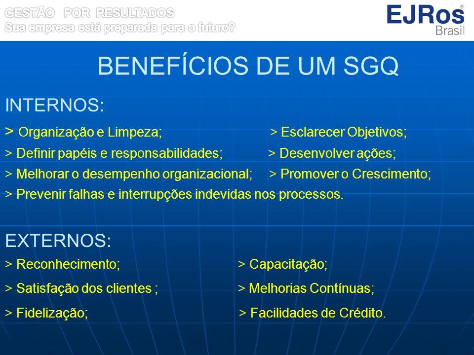 INTERNOS: > Organização e Limpeza; > Esclarecer Objetivos; > Definir papéis e responsabilidades; > Desenvolver ações; > Melhorar o desempenho organiza