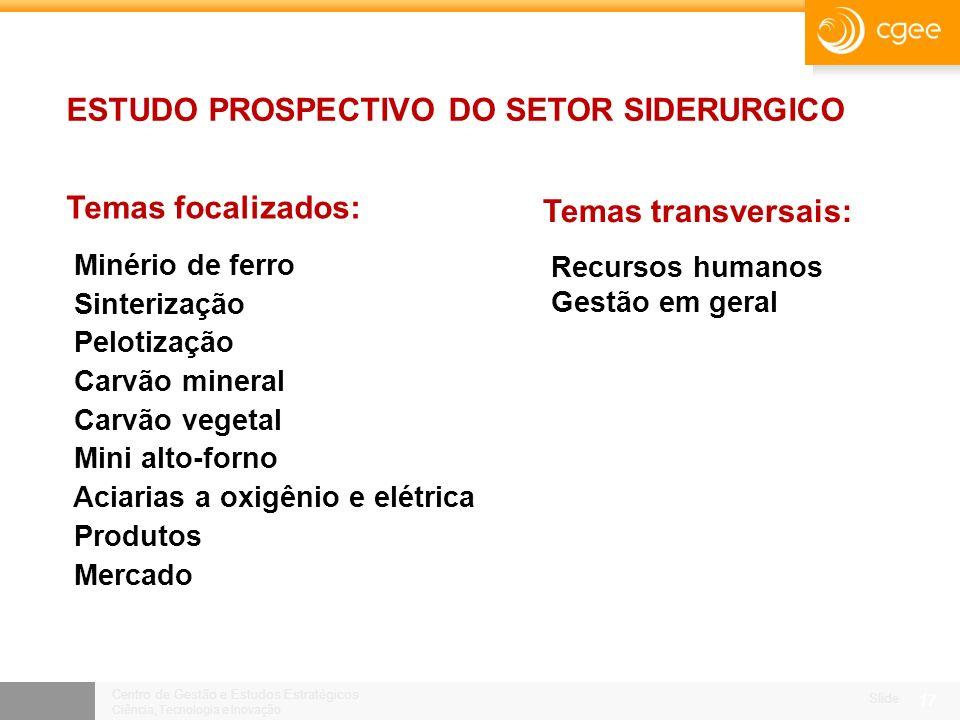 Centro de Gestão e Estudos Estratégicos Ciência, Tecnologia e Inovação Slide 16 A SIDERURGIA BRASILEIRA, COMO O BRASIL: CRESCE, PORÉM, MENOS DO QUE PODERIA OU DEVERIA CRESCER.