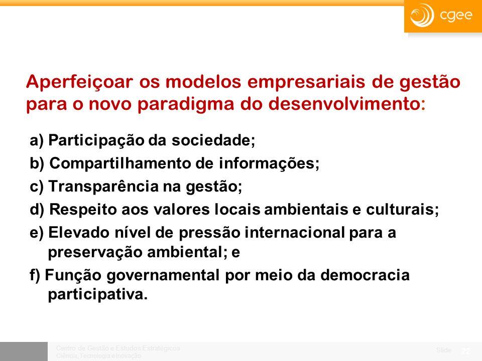 Centro de Gestão e Estudos Estratégicos Ciência, Tecnologia e Inovação Slide 21 Competitividade e sustentabilidade são as dimensões dominantes na construção do futuro da siderurgia brasileira.