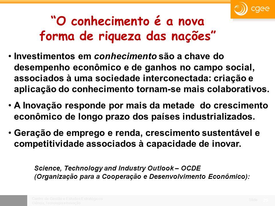 Centro de Gestão e Estudos Estratégicos Ciência, Tecnologia e Inovação Slide 24 Criação de programas tecnológicos nacionais, em temas prioritários.