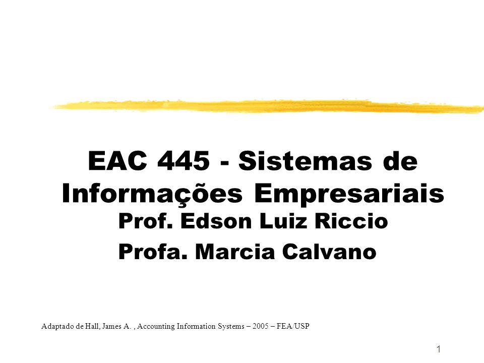 1 EAC 445 - Sistemas de Informações Empresariais Prof. Edson Luiz Riccio Profa. Marcia Calvano Adaptado de Hall, James A., Accounting Information Syst