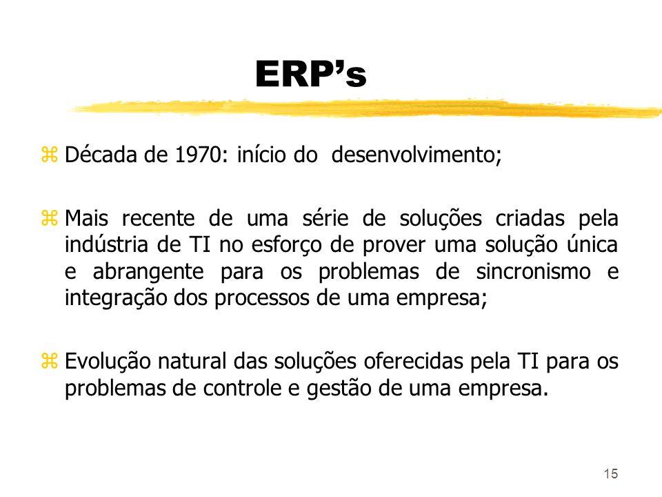 15 ERPs zDécada de 1970: início do desenvolvimento; zMais recente de uma série de soluções criadas pela indústria de TI no esforço de prover uma soluç