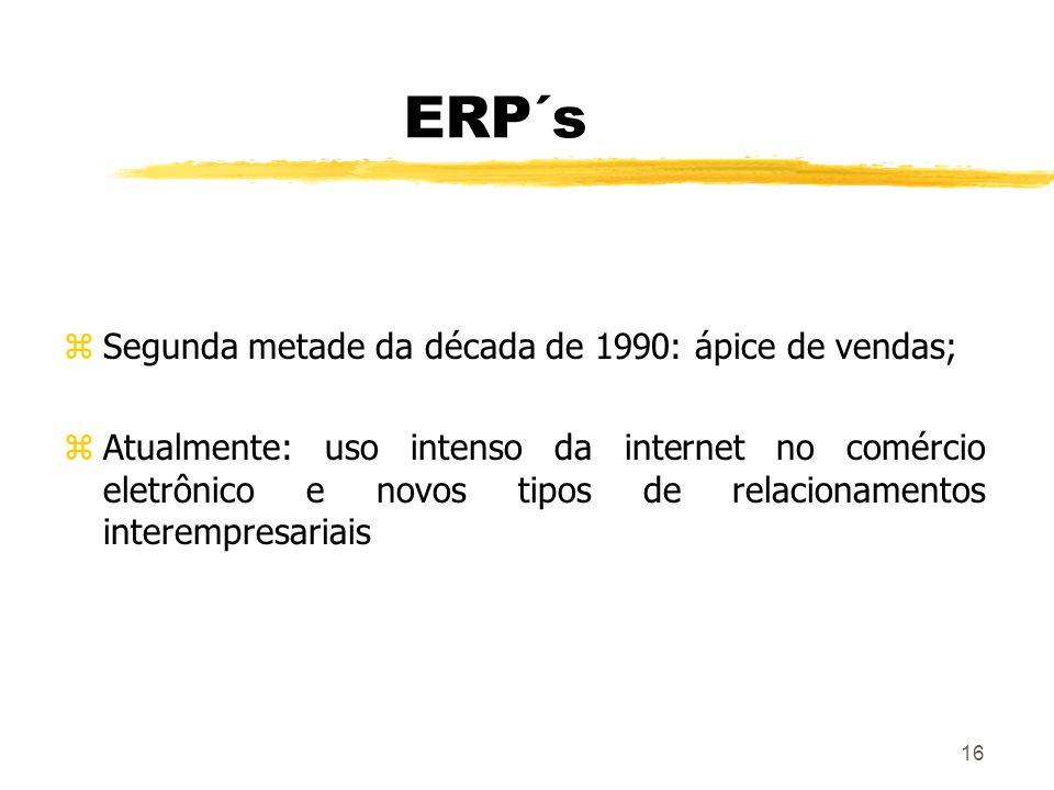 16 ERP´s zSegunda metade da década de 1990: ápice de vendas; zAtualmente: uso intenso da internet no comércio eletrônico e novos tipos de relacionamen