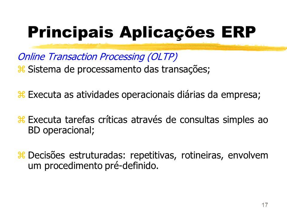 17 Principais Aplicações ERP Online Transaction Processing (OLTP) zSistema de processamento das transações; zExecuta as atividades operacionais diária